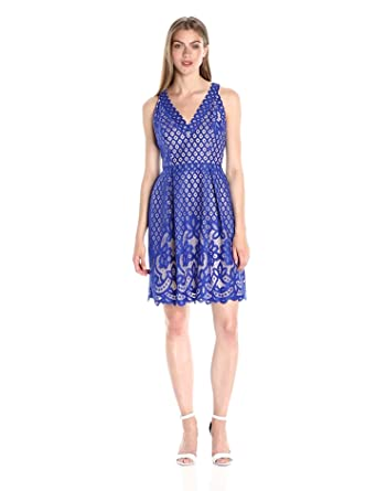 a478f189b0 Adrianna Papell Women s Halter Neckline Giselle Lace Fit and Flare Dress