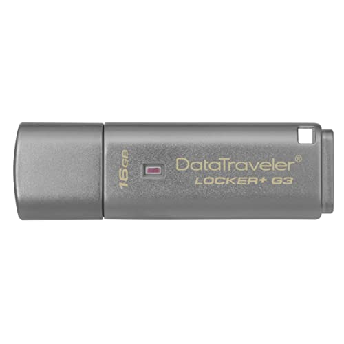 Kingston DTLPG3/16GB Data Traveler Locker + G3, USB 3.0 Protection des Données Personnelles, Sauvegarde Automatique dans le Cloud