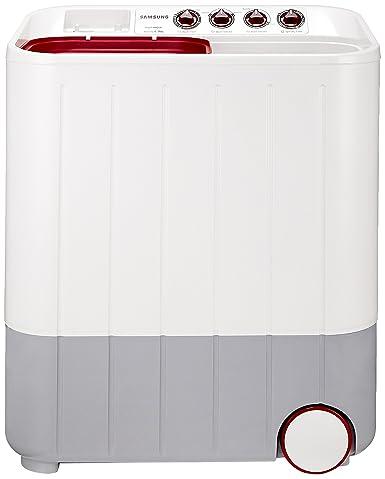Samsung 6 5 kg Semi-Automatic Top Loading Washing Machine (WT657QPNDPGXTL,  White and Maroon, Double Storm Pulsator)