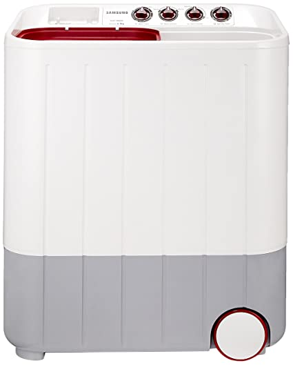 Samsung 6.5 kg Semi Automatic Top Loading Washing Machine  WT657QPNDPGXTL, White and Maroon, Double Storm Pulsator  Washing Machines   Dryers