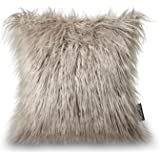 "PHANTOSCOPE Decorative New Luxury Series Merino Style Beige Fur Throw Pillow Case Cushion Cover 18"" x 18"" 45cm x 45cm"