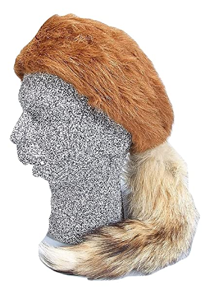 ed384dc8a01 Amazon.com  Daniel Boone Red Fox Fur Hat with Real Fox Tail Size Medium   Toys   Games