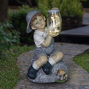 Exhart Solar Boy Holding a LED Firefly Jar Garden Statuary, 18 Inches Tall
