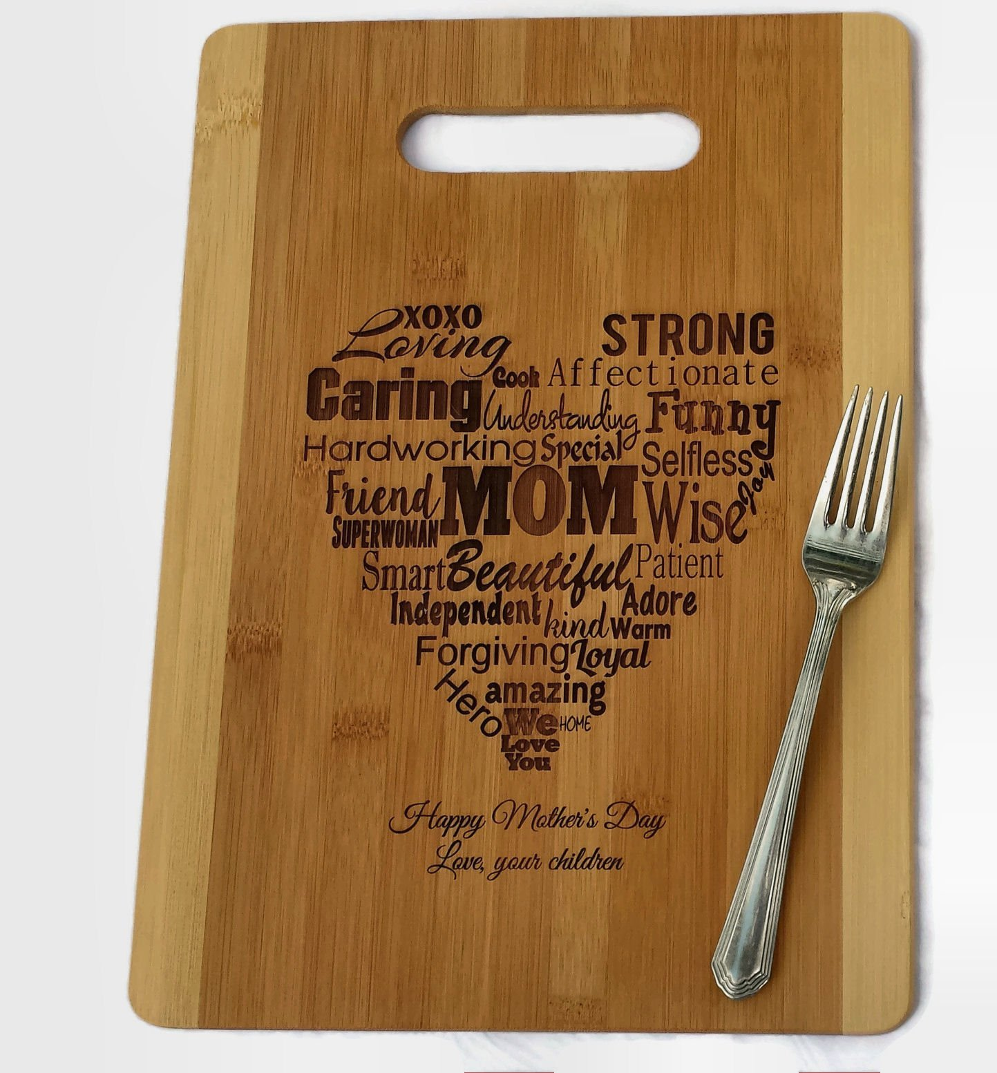 Mothers Gift Heart Love Mom ( Bamboo Personalized, Medium 9.5x13 ) Serving Cutting Board for Mothers Day Birthday or Christmas by CustomCuttingBoards-by-StockingFactory (Image #4)