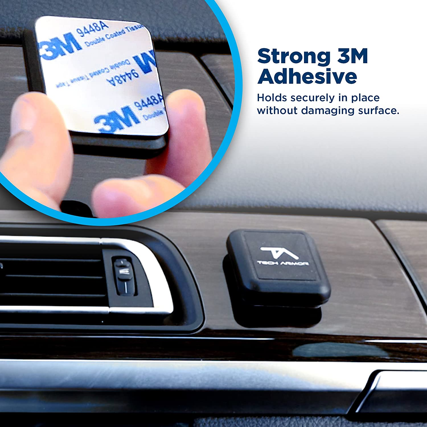 3M Adhesion Black Google for iPhone Tech Armor Universal Magnetic Car Mount Galaxy LG and More Stick Anywhere