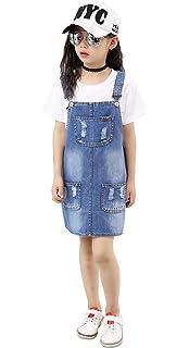 d6a4d3b6a Amazon.com: Kidscool Girls Big Bibs Small Flowers Decor Summer Jeans ...