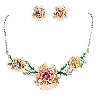 TENYE Women's Crystal Camellia Flower Teardrop Necklace Earrings Set U7h6vZin