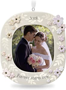 Hallmark Keepsake 2018 Wedding Gift Forever Starts Now Year Dated Porcelain Photo Picture Frame Christmas Ornament
