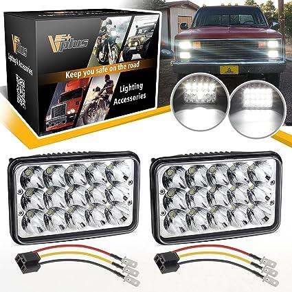 Amazon Vplus 4x6 Led Headlights 6x4 45w Rectangle High Low Beam. Vplus 4x6 Led Headlights 6x4 45w Rectangle High Low Beam H4 Headl H4651 H4666 H6545 H4656. Wiring. 1992 Peterbilt 379 Water Temp Wiring Diagram At Scoala.co