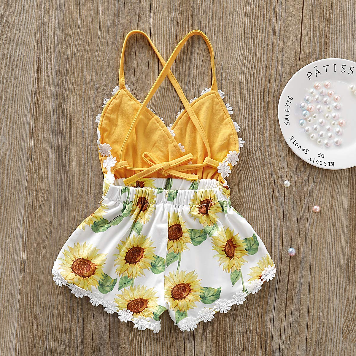 Summer Toddler Baby Girl Clothes Cute Watermelon Print Lace Trim Backless Romper Beach Jumpsuit