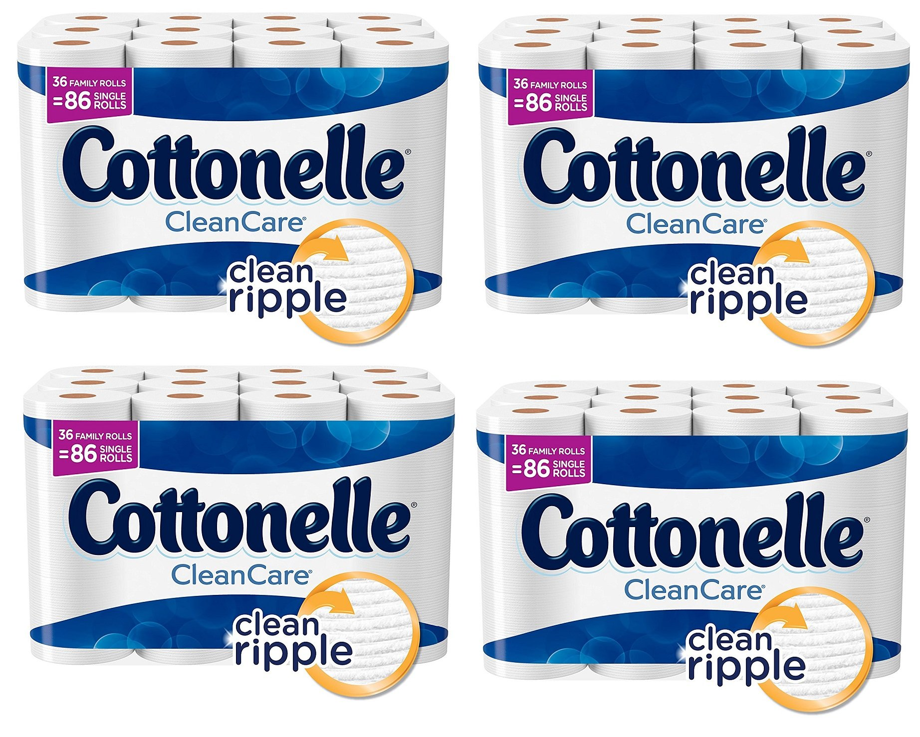 Cottonelle CleanCare Family Roll Toilet Paper gPCvNj, 4Pack (36 Roll)