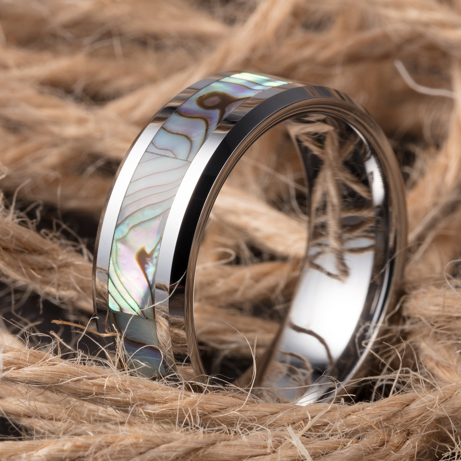 TUSEN JEWELRY 8mm Tungsten Wedding Band Natural Abalone Shell Inlay Tungsten Carbide Ring