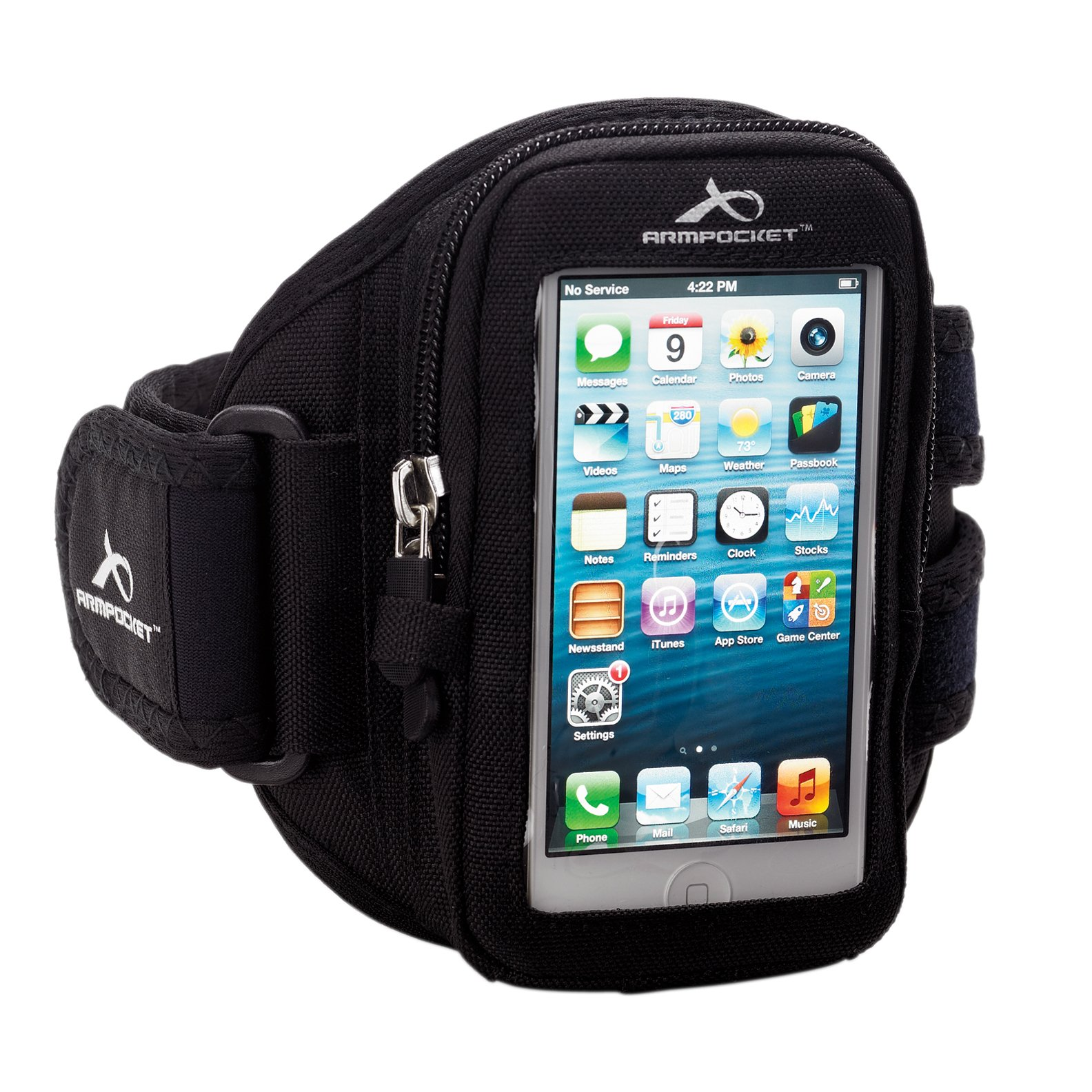 Armpocket Aero i-10 armband for iPhone 5s/5c/4 and similar phones or cases up to 5 inches. Black, Small Strap Length