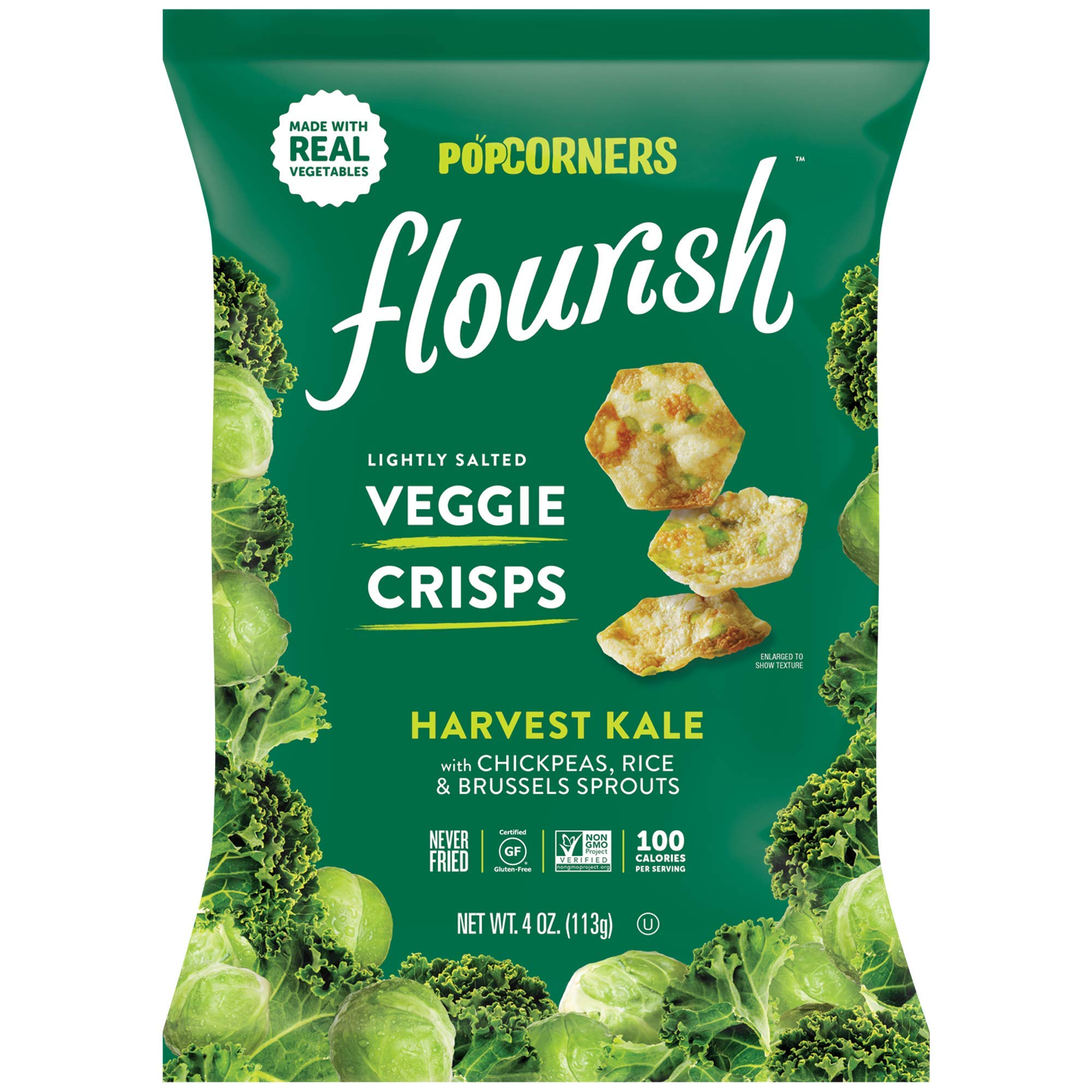 Popcorners Flourish Harvest Kale Veggie Crisps | Plant-Based Protein, Gluten Free Snacks | (12 Pack, 4 oz Snack Bags) by Popcorners