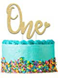 "1st Birthday Cake Topper Decoration ONE - 6.25"" x 4.25"" First Bday Topper w/ Premium Double Sided Gold Glitter Card Stock Paper 