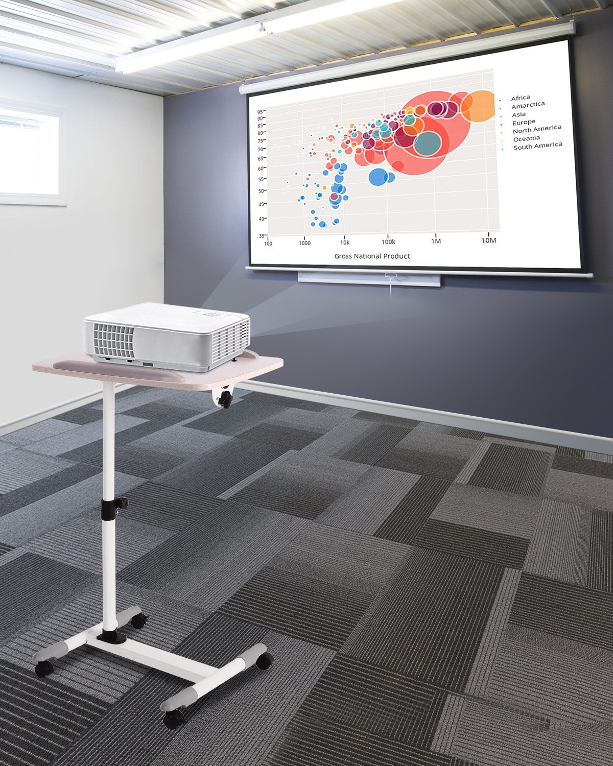 ProHT Universal Mobile Projector Laptop Stand Trolley (05485A),Sit-Stand Laptop Desk Cart,Adjustable Projector Stand/Rolling Computer Stand/Presentation Cart Rotated 360° and Tilted up to 35° .White by ProHT (Image #9)
