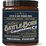 Battle Born Grooming Co Original Pomade (Bay Rum, 4 oz) | Medium Hold | Matte Finish | Natural Ingredients | Water Based