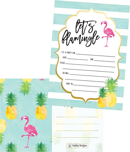 Flamingo Theme Party Invitations Girls Birthday Glitter Invites Tropical 8 Pack