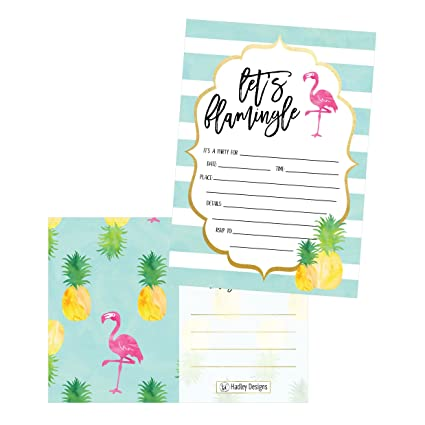 25 Flamingo Party Invitations For Kids Teens Adults Boys Girls Blank Children Happy 1st Birthday Invitation Cards Unique Baby First Bday
