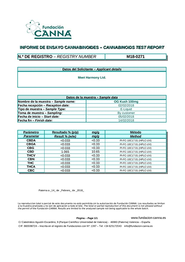 LIQUIDO HARMONY ORIGINAL con CBD 100mg (SIN NICOTINA) 10ML. Envio gratis con 2 unidades (Mango Kush)