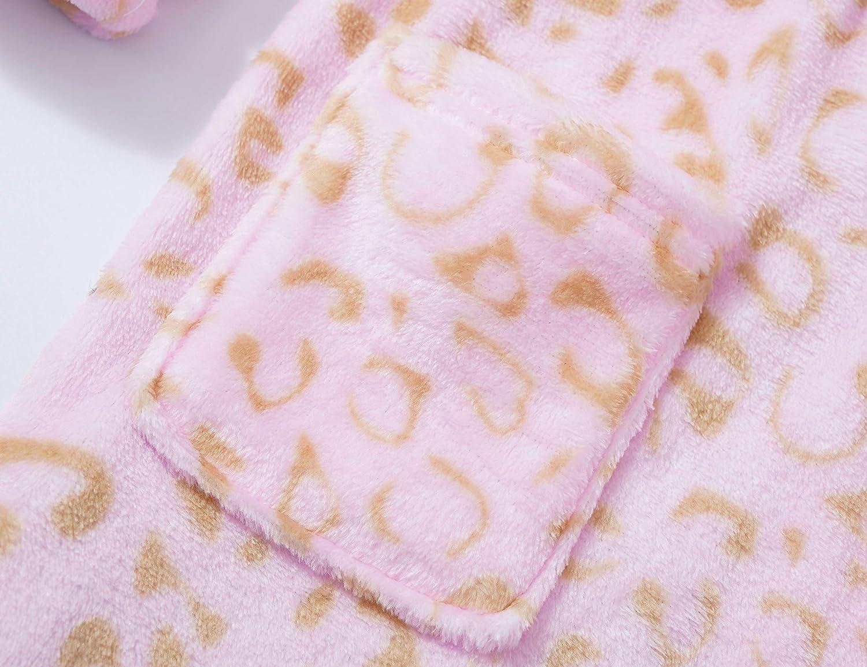 Leopard Cat Robe for Girls Fleece Toddler Kids Teen Hooded Bathrobe Size 4T - 18: Clothing