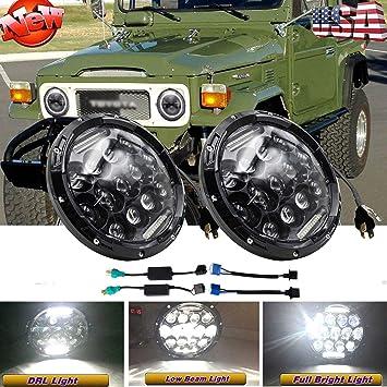 "2x 7/"" inch Round LED Headlights DRL For Jeep Wrangler JK LJ CJ TJ FJ Cruiser H3"