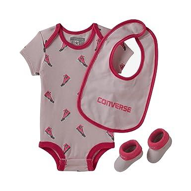 Converse Infant Baby Girls Wordmark Bodysuit Socks Bib 3 Piece