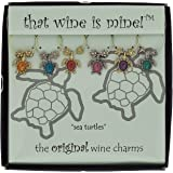 "Wine Things ""Sea Turtles"" Painted Wine Charms, Fits Neatly Around Stem, Multicolor"
