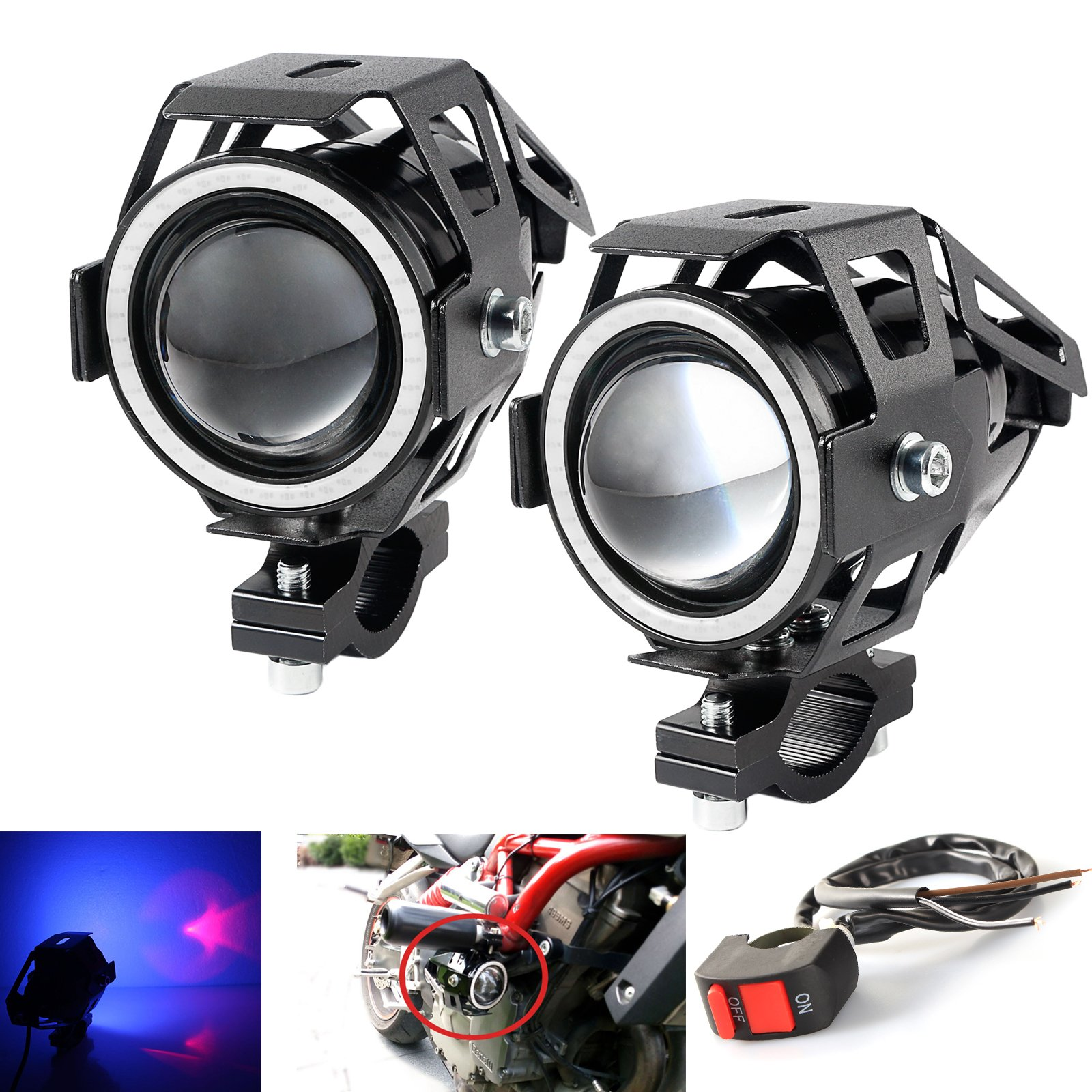 LEDUR Motorcycle Headlight Led U7 DRL Fog Driving Running Light with Angel Eyes Lights Ring Front Spotlight Strobe Flashing Blue Light and Switch(2PCS,Blue Halo) by LEDUR
