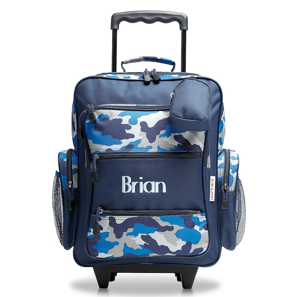 Personalized Rolling Luggage for Kids - Blue Camo Design, 5'' x 12'' x 20''H, By Lillian Vernon