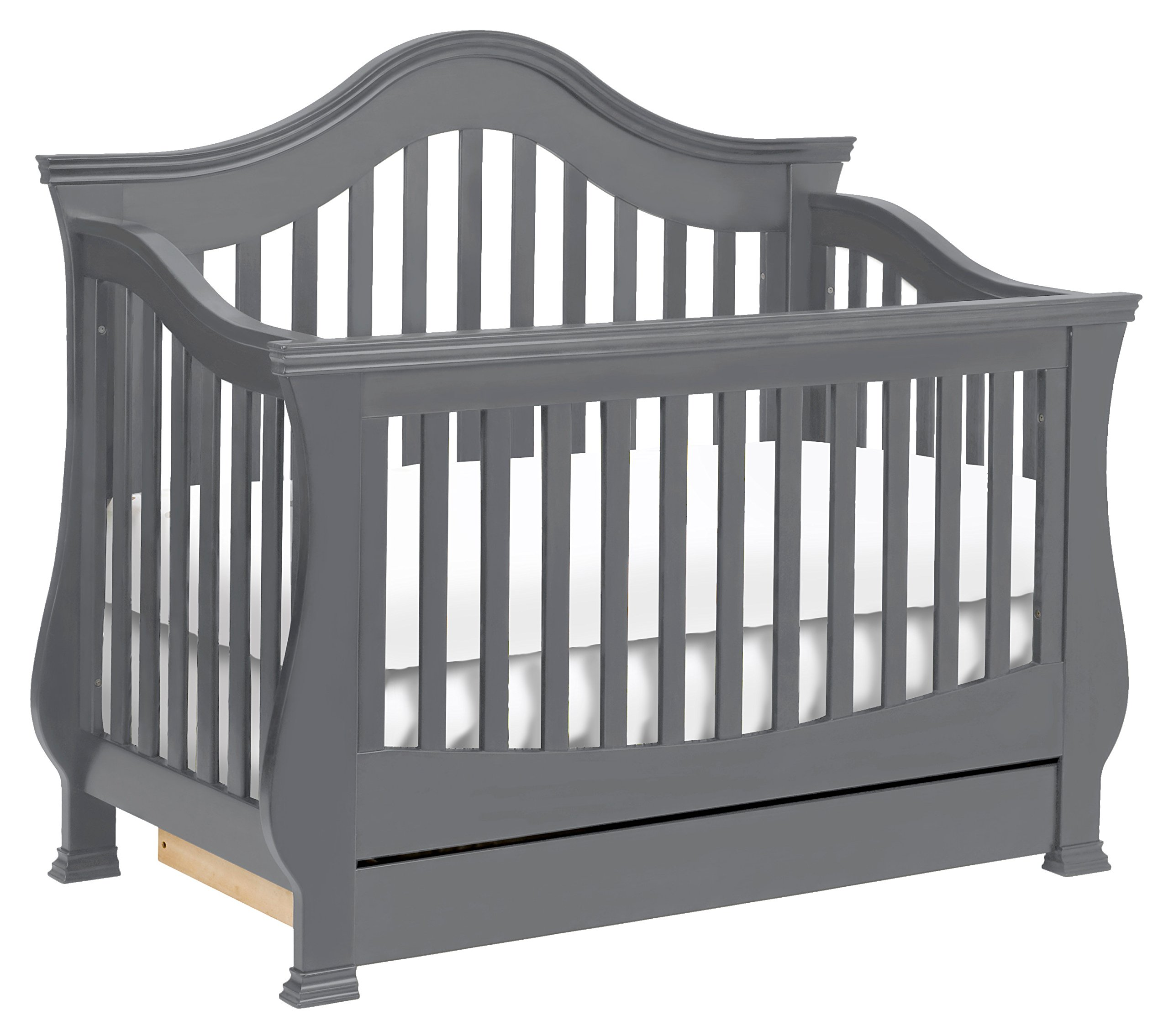 Million Dollar Baby Classic Ashbury 4-in-1 Convertible Crib with Toddler Bed Conversion Kit, Manor Grey