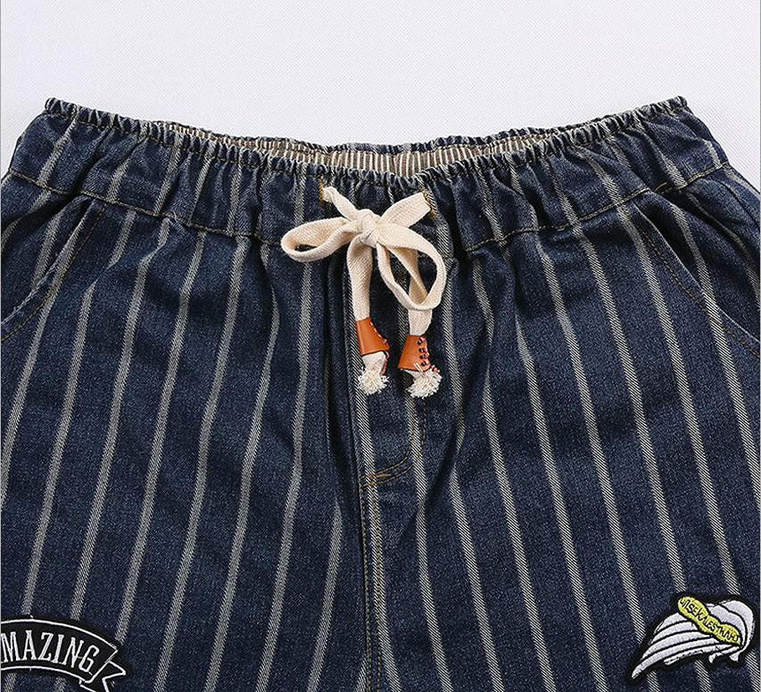 Dreamedge Spring New Korean Version Striped Cotton Jeans Loose Ankle-Length was Thin Wide Leg,Sky Blue,XXL