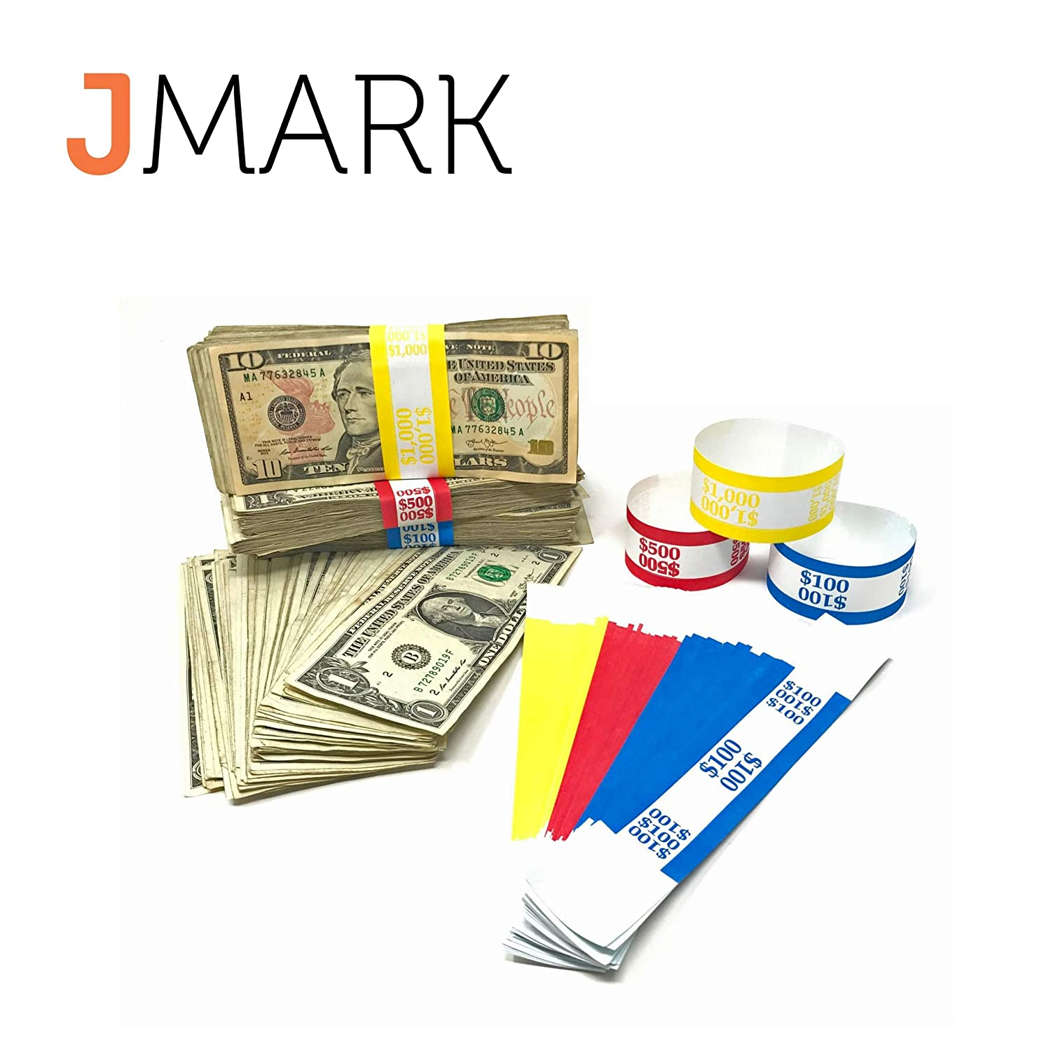 7.5 x 1.25 inches Pack of 3000 Self-Adhesive Assorted Money Wrappers for Bills Color Coded Wraps Meets ABA Standards Made in USA Money Bands Currency Sleeves Straps Counter Recyclable Kraft Pap