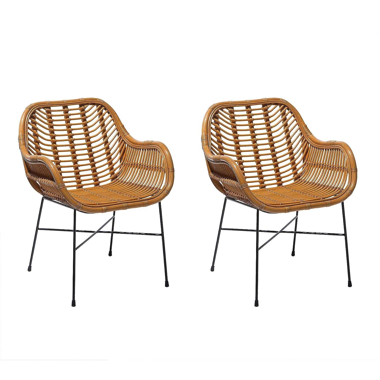 Beliani Conjunto de 2 sillas de ratán Amarillas CANORA ...