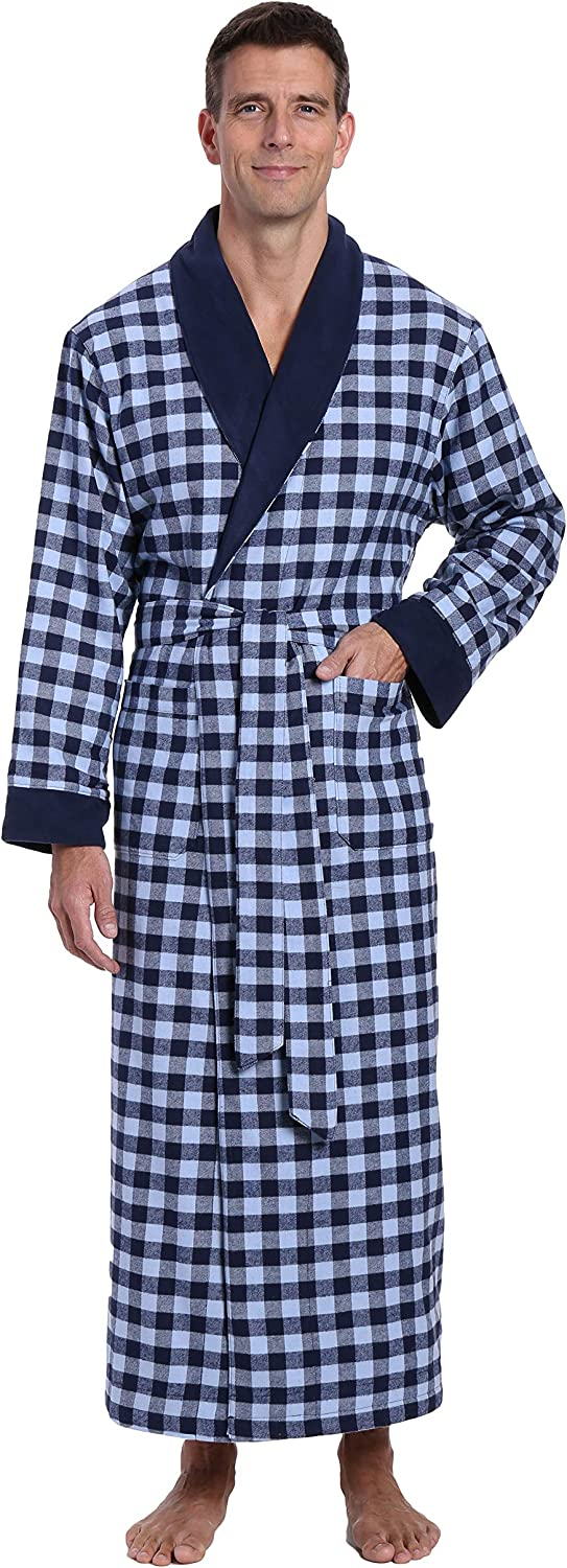 Noble Mount Mens Robe - 100% Cotton Mens Flannel Robe - Fleece Lined