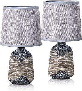 Brubaker - Juego de lámparas de mesa (2 unidades, pies de cerámica de dos colores, acabado en mate, 36 cm de altura), color marrón: Amazon.es: Iluminación