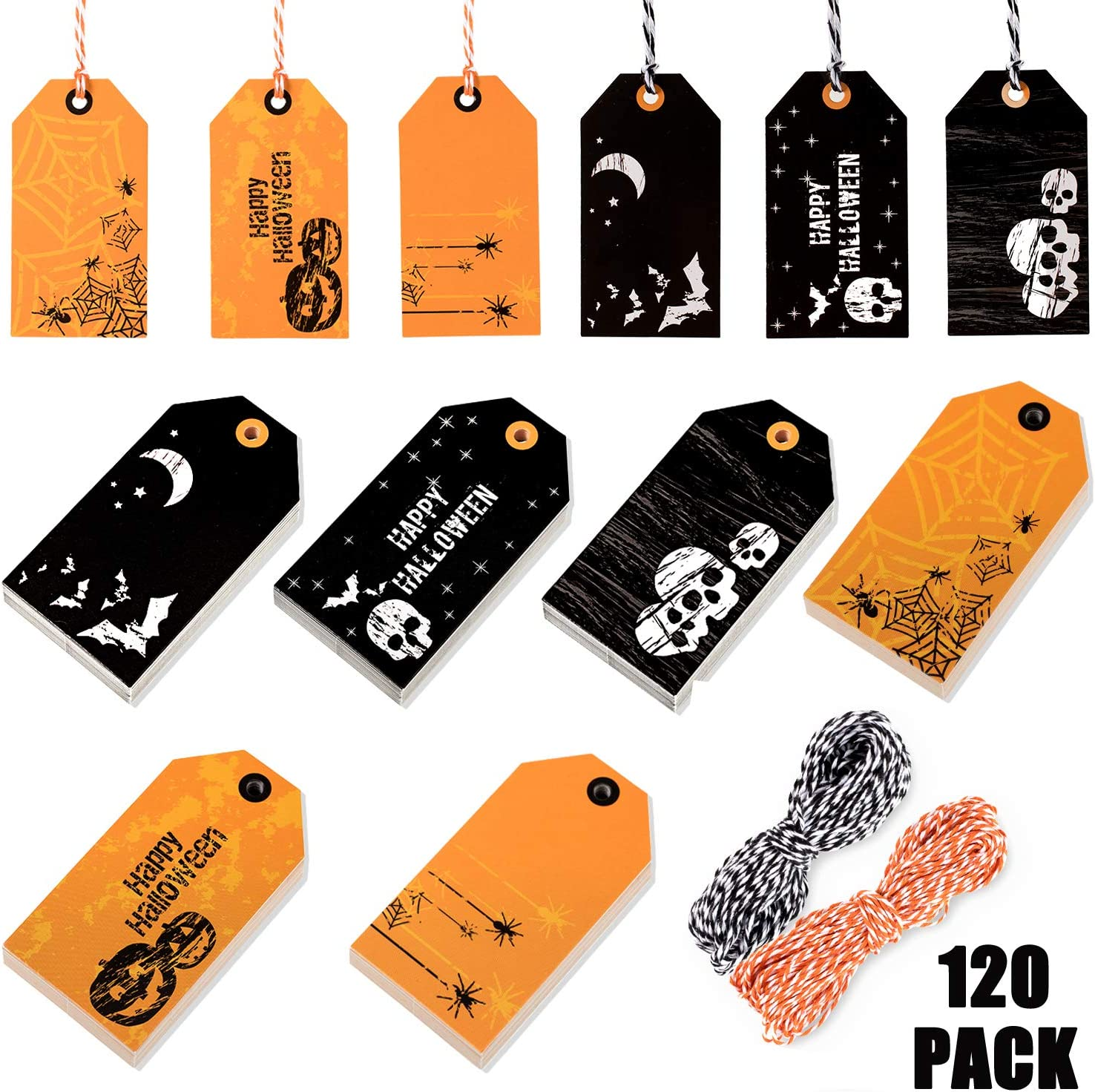 Whaline 120 Pack Halloween Paper Tags with 130ft Cotton Rope for Halloween Party Favor, Candy Goodie Bag Gift Decoration : Office Products