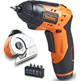 VonHaus 2 in 1 Cordless 3.6V Electric Screwdriver and Multi Cutter Attachment for Cardboard, Crafts and Fabric - Rechargeable, LED Light with 3-Position Handle and 5 Screwdriver Bit Set