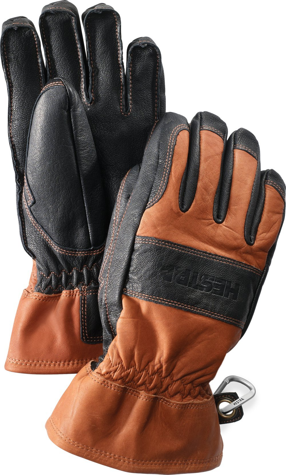 Hestra Guide Short Leather Glove with Wool Lining,Brown/Black,8