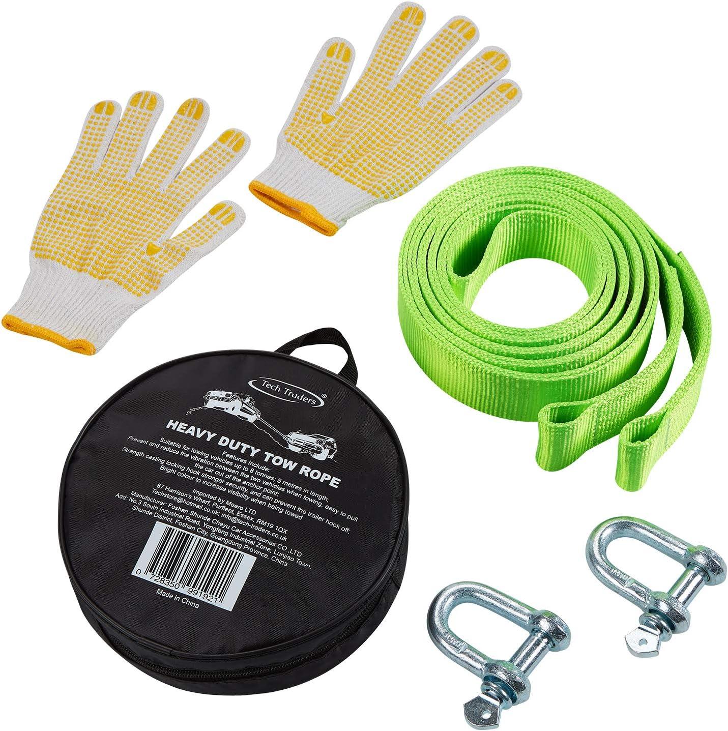 Tech Traders - Correas de remolcar, cuerda de remolcar en carretera para coches, fluorescente, para 8000 kg, 5 metros, con 2 grilletes y 2 guantes ...