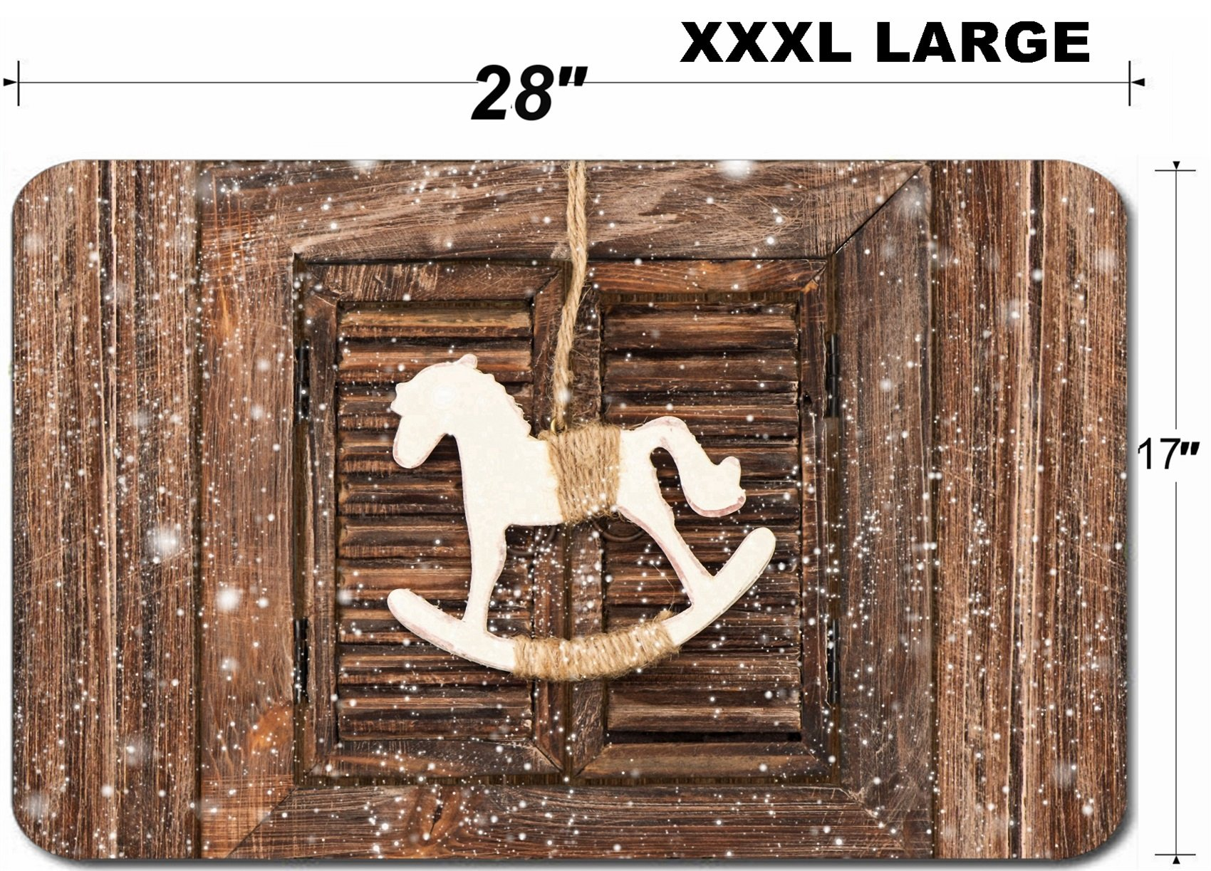 Liili Large Table Mat Non-Slip Natural Rubber Desk Pads IMAGE ID 33334618 christmas decoration rocking horse over wooden window background vintage style picture wi