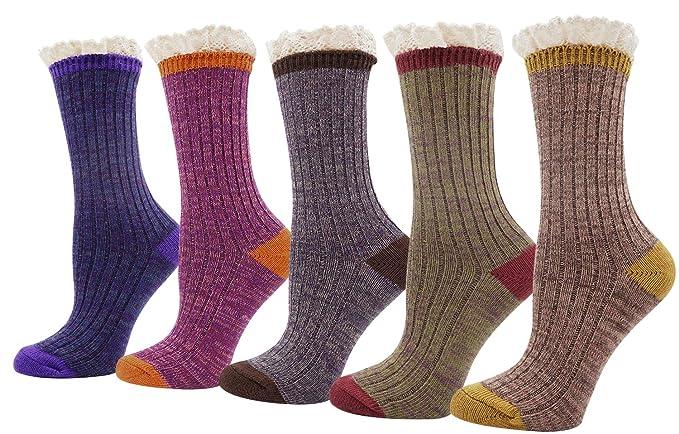 7f66af9e1cead Womens Lady's 5 Pack Crochet Lace Trim Cotton Knit Crew Socks