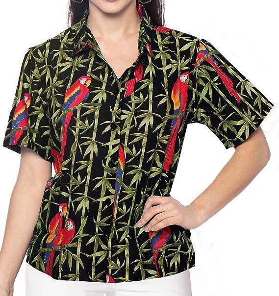 Manga Corta de Playa Camisas de Hawaiano Mujeres Blusa de Vestir la Parte Superior Tirantes s