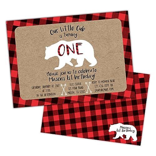 amazon com plaid little cub bear birthday invitations for boys