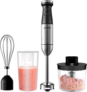 SHARDOR Immersion Hand Blender 9-Speed Stainless Steel Stick Blender With Food Chopper, Whisk, Mixing Beaker, Hand Blender Electric for Soups, Sauces, Smoothies, Infant Food, BPA-Free, Silver