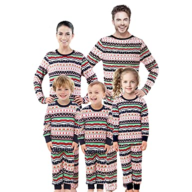 63375a1e3a Rnxrbb Family Christmas Matching Pajamas Set Pjs Xmas Pyjamas Holiday  Jammies Kids Boys Girls Sleepwear Stripes