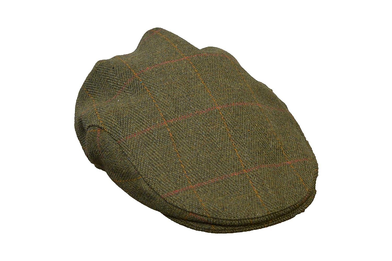 Walker & Hawkes - Uni-Sex Derby Waterproof Tweed Flat Cap Country Hat - Dark Sage