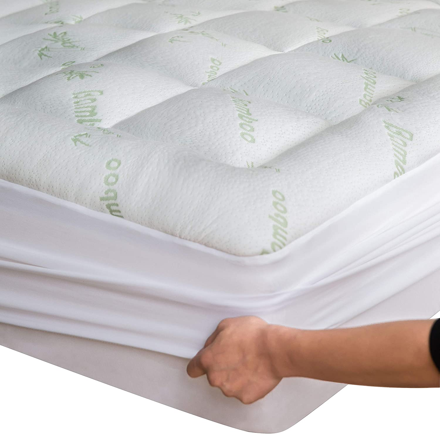 Bamboo Mattress Topper Queen with Bonus Pillow Protector Cooling Pillow Top Mattress Pad Breathable Extra Plush Thick Fitted 8-21Inches Rayon Cooling Fabric Ultra Soft