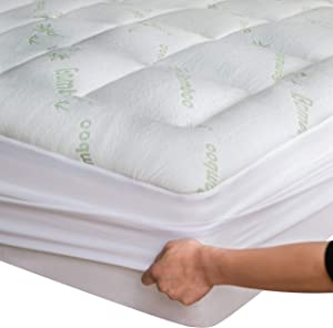 Bamboo Mattress Topper King 78x80 inches Fits 8-21 Inches Deep Mattresses Cooling Breathable Extra Plush Thick Fitted 20Inches Pillow Top Mattress Pad Rayon Cooling Ultra Soft (Bamboo, King 78x80x15)