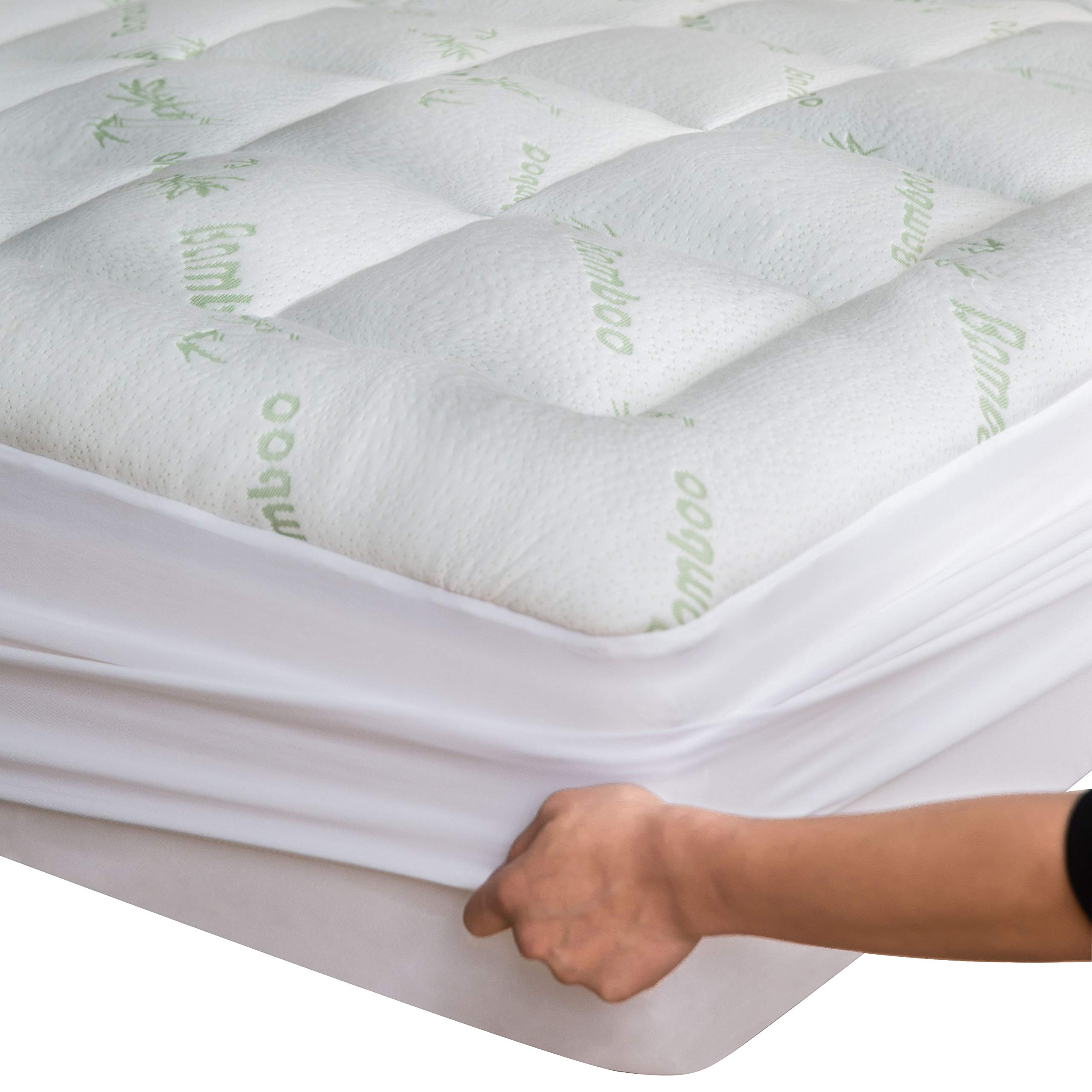 Niagara Sleep Solution Bamboo Mattress Topper Queen with Bonus Pillow Protector Cooling Pillow Top Mattress Pad Breathable Extra Plush Thick Fitted 8-21Inches Rayon Cooling Fabric Ultra Soft